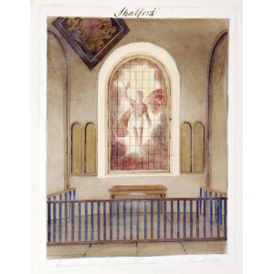 Pencil and watercolour drawing of the communion table in Shalford Church