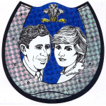Thumbnail image for Royal wedding (Charles and Diana, 1981) souvenir: card in form of a horseshoe with portraits of Charles and Diana