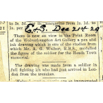 Thumbnail image for Express and Star news article: pen and ink drawing by Mr A. G. Walker RBS; page 84