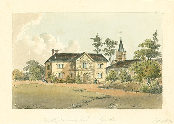 Witley vicarage and church, by John Hassell, 1822  Surrey History Centre ref. 4348/3/51/2