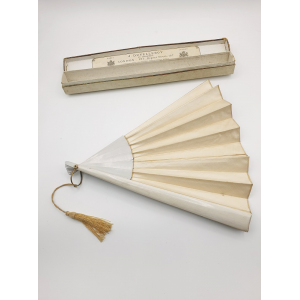 Womens white satin fan with wooden sticks