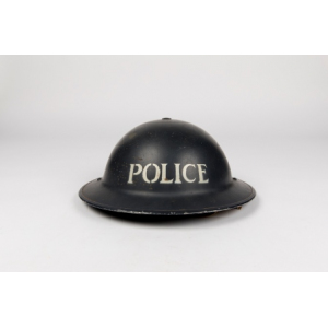 Stoke-on-Trent City Police World War II tin helmet, with 'POLICE' stencilled on the front