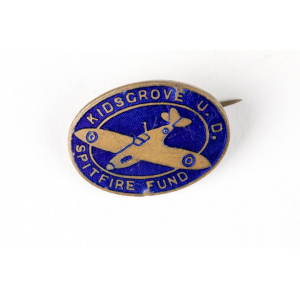 Oval pin badge depicting a Spitfire