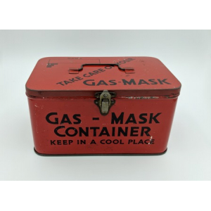 Gas mask container, a red tin box, with catch on the front and small handle on the top